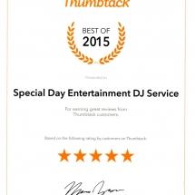 ThumbTackT 2015 Award #1 DJ Jacksonville FL